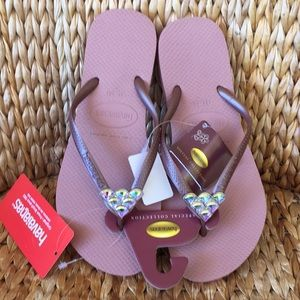 New Rose Havaianas Mermaid Flip Flop Sandals 9/10